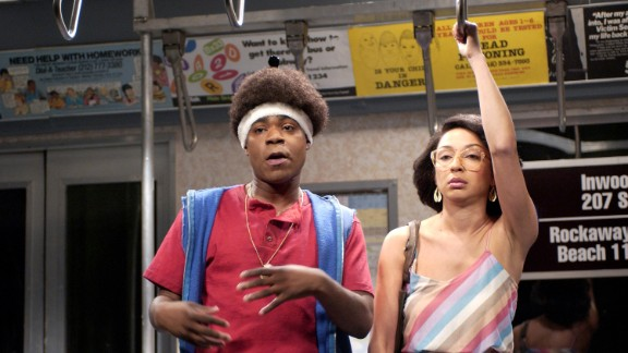 "Tracy Morgan with Maya Rudolph in the ""On The Subway"" skit on April 13, 2002."