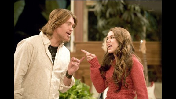 """""""Hannah Montana"""": In more innocent, pre-twerking times, Miley Cyrus starred in the popular Disney show with real dad Billy Ray Cyrus as her on-screen dad. The main character's deceased mom (played by Brooke Shields) appeared only in flashback scenes."""