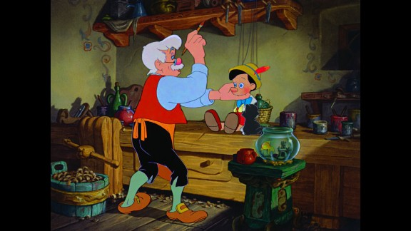 """""""Pinocchio"""": In the 1940 classic Disney film, lonely woodcarver Geppetto always wanted one of his wooden puppets to become a real boy. When he wishes on a star that """"I wish my little Pinocchio might be a real boy,"""" his dream finally comes true."""