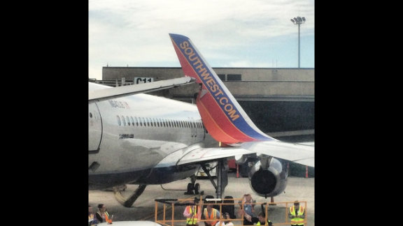 A Southwest  Airlines plane clipped a JetBlue plane Monday at Boston's Logan International Airport; there were no injuries.