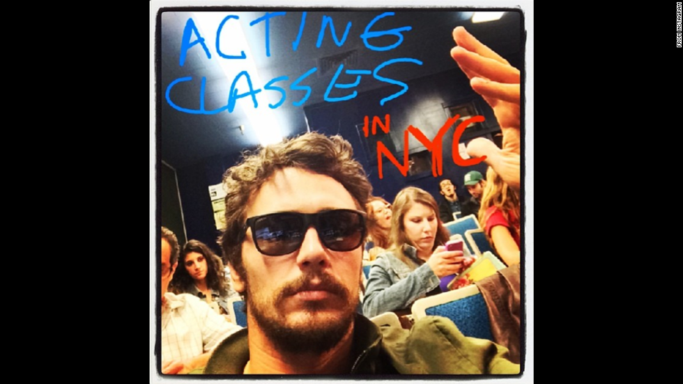 "Actor James Franco promotes his acting school, Studio 4, in an <a href=""http://instagram.com/p/pB_aWrS9XD/"" target=""_blank"">Instagram post</a> Monday, June 9. The school is based in Los Angeles but now offers classes in New York."