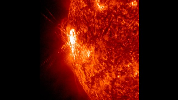 A large active region is giving off warning signs that this could be the source of powerful solar storms. It shot off two smaller flares (January 2, 2014) as shown here in a wavelength of extreme ultraviolet light.