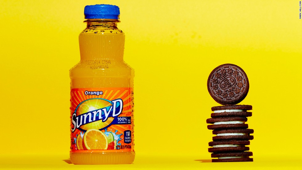<strong>Juice: Sunny D Original.</strong><br />A 16-ounce bottle of SunnyD Original contains 28 grams of sugar. Each these six Oreos contains about 4.6 grams of sugar. <br />