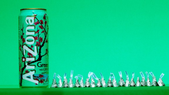 A 23-ounce can of Arizona Green Tea contains 51 grams of sugar, which is about the same as can be found in 20 Hershey's Kisses. The World Health Organization recently proposed new guidelines that recommend consuming less than 5% of our total daily calories from added sugars. For an adult at a normal body mass index, or BMI, 5% would be around 25 grams of sugar -- or six teaspoons.