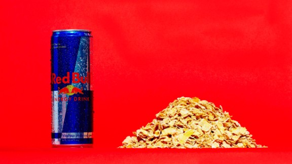 "Three-quarters of a cup of generic-brand frosted flakes contains about 11 grams of sugar. This 16-ounce can of Red Bull has 52 grams of sugar. Red Bull and many of the companies in this gallery offer lower or no-sugar versions of their drinks. ""Nearly half -- 45% -- of all non-alcoholic beverages contain 0% (sugar),"" said Christopher Gindlesperger, spokesman for the American Beverage Association."