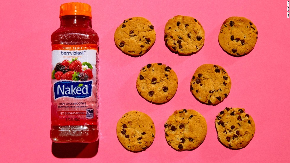 The 15.2-ounce bottle of Naked Berry Blast has 29 grams of sugar. Each of these eight Chips Ahoy! cookies contains about 3.6 grams of sugar. <br />
