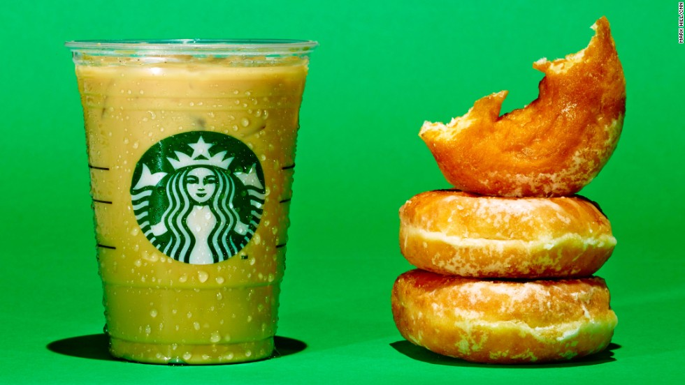 A Grande Starbucks Iced Flavored Latte with 2% milk and your choice of syrup has about 28 grams of sugar. The same amount of sugar is in 2.5 Krispy Kreme donuts.