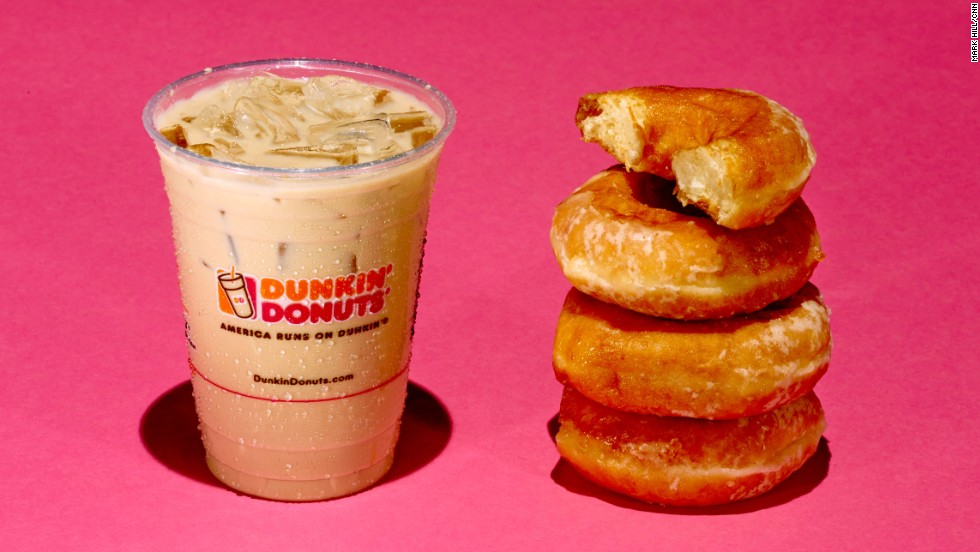 A 16-ounce Dunkin Donuts Iced Caramel Latte has 37 grams of sugar. Each Krispy Kreme donut has about 11 grams of sugar.