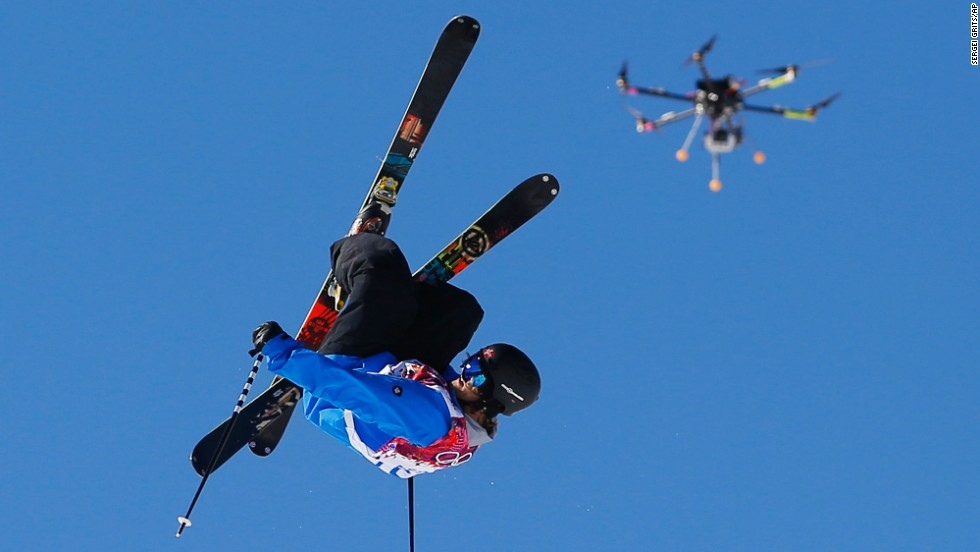 A drone camera follows Norway's Aleksander Aurdal during the men's slopestyle finals at the 2014 Winter Olympics in Krasnaya Polyana, Russia.
