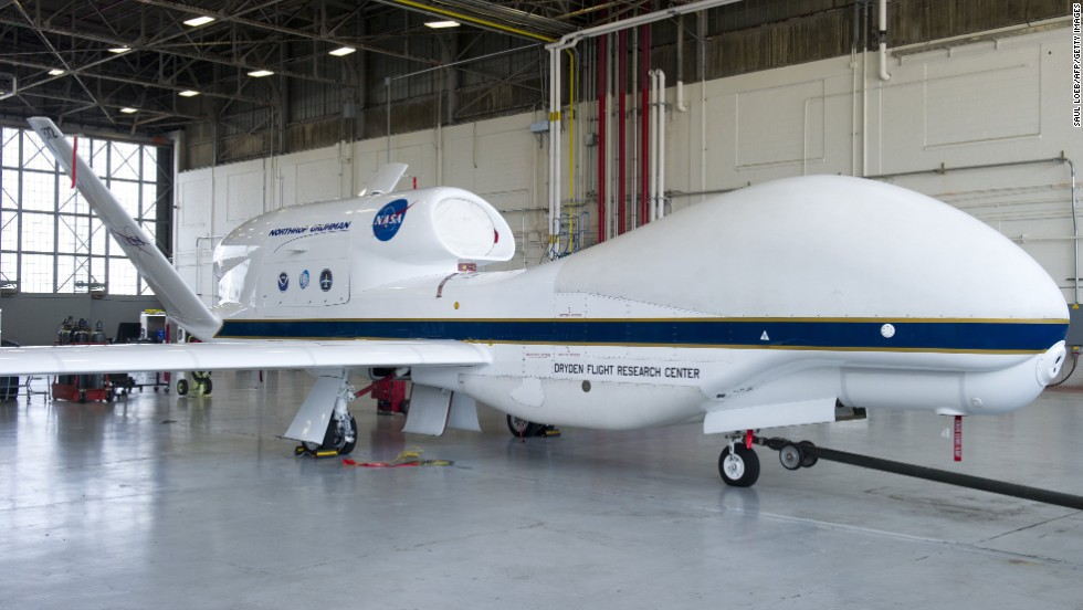 A NASA Global Hawk Drone Sits In An Airplane Hangar During Hurricane And Severe Storm