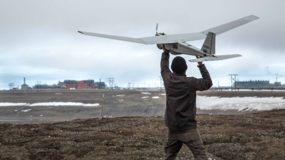An AeroVironment Puma drone undergoes pre-flight tests in Prudhoe Bay, Alaska, on June 7, 2014. The drone will be used to survey roads, pipelines and other equipment at the largest oil field in the United States. The Federal Aviation Administration authorized BP to conduct the first-ever commercial drone flights over land.