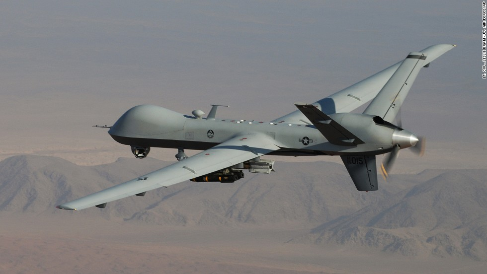 An MQ 9 Reaper Armed With Laser Guided Munitions And Hellfire Missiles