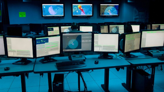 A Raytheon mock-up of a Zumwalt operations center roughly similar to the facility aboard the Navy's newest destroyer.