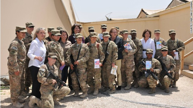 A bipartisan delegation of Congresswomen visited American women service members in Afghanistan.
