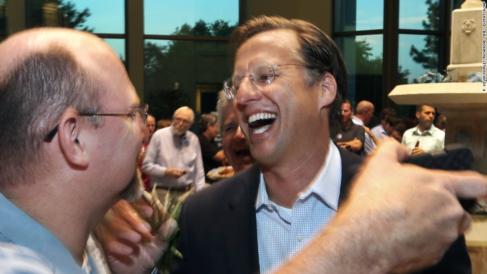 2014:  House Majority Leader Eric Cantor lost the Republican primary to college professor Dave Brat, a political novice. Brat seen Tuesday night in Richmond, Virginia.