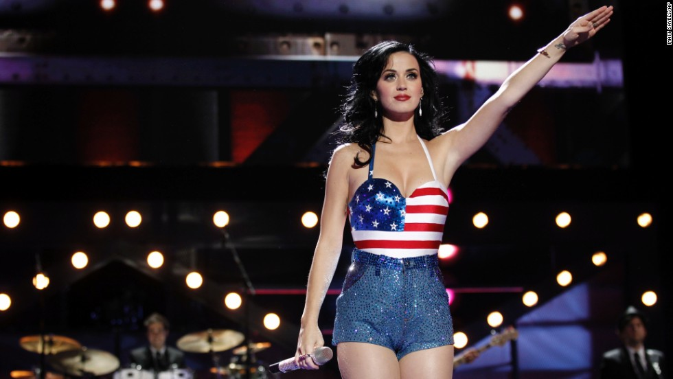 Pop star Katy Perry wears a flag top as she performs at the VH1 Divas Salute the Troops event in 2010.