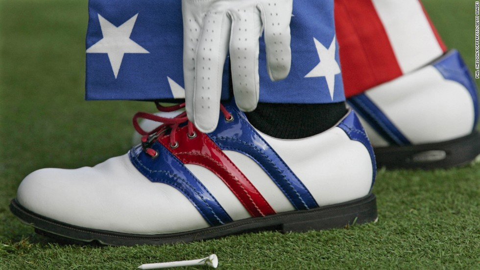 Pro golfer Ian Poulter wore the red, white and blue on his pants as well as his shoes during the PGA Championship in 2004.