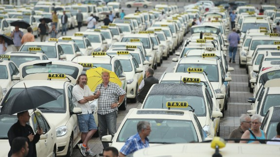 Berlin taxi drivers protest over Uber.