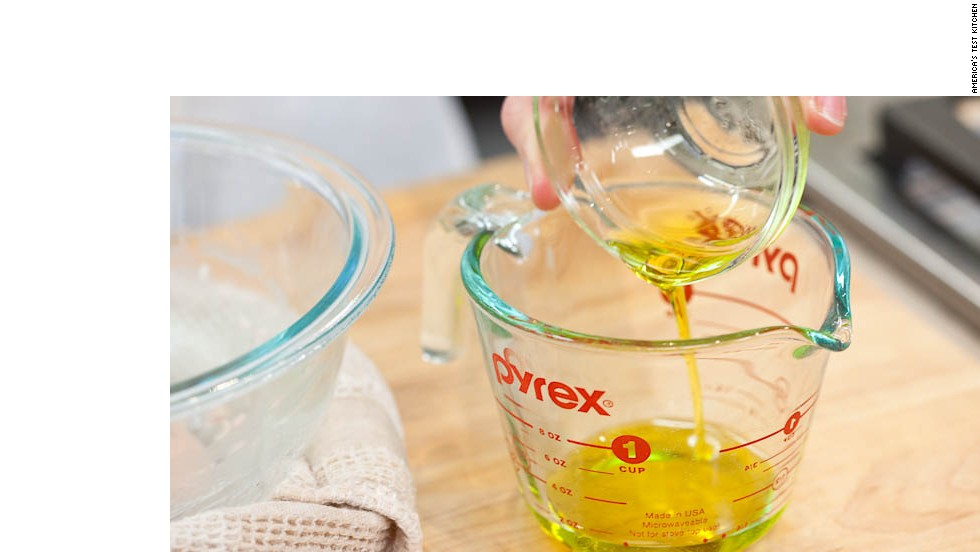 4. Place 3 tablespoons extra-virgin olive oil in small measuring cup so that it is easy to pour. (You can also use a small bowl.)