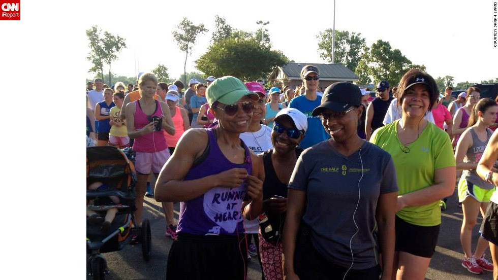 "Evans, left, says somewhere along her journey, she ""fell in love with running."" Here, she participates in the Red River Road Runners Summer Fun Run on June 5, weighing 125 pounds."