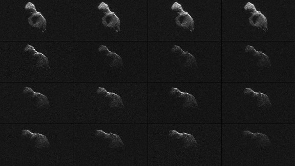 "NASA scientists used Earth-based radar to produce these sharp views of the asteroid designated ""2014 HQ124"" on June 8, 2014. NASA called the images ""most detailed radar images of a near-Earth asteroid ever obtained."""