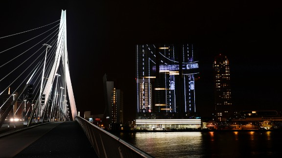 The A15 project, the largest projection mapping in Europe, on Rotterdam's largest skyscraper