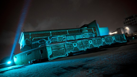 Tron South Bank: Projections on three separate surfaces combined to re-create the movie maze.
