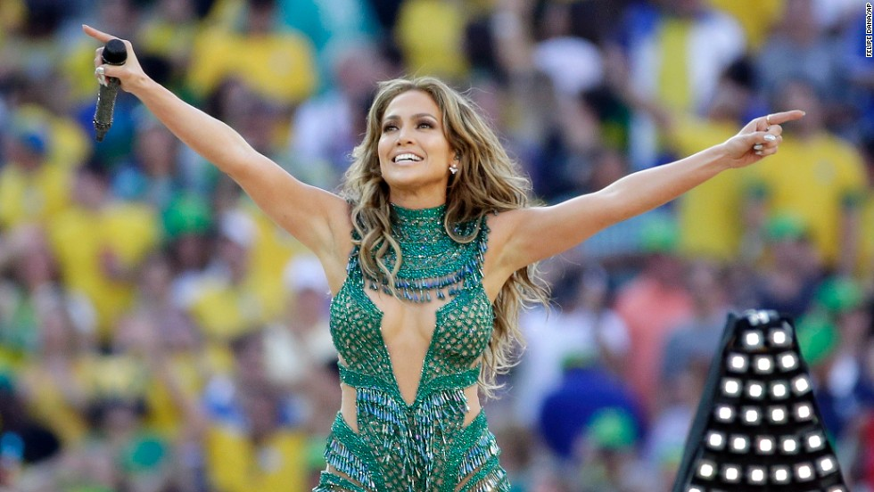 Singer Jennifer Lopez performs during the tournament's opening ceremony, which was held in Sao Paulo prior to the Brazil-Croatia match.