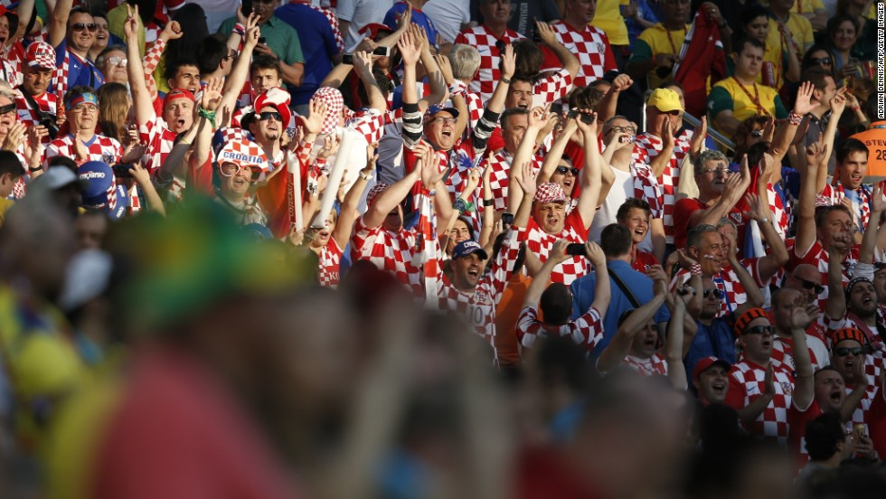 Croatia fans cheer their team prior to the start of the match.