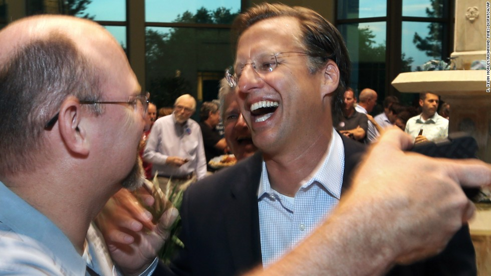 "Republican congressional nominee Dave Brat, right, is congratulated after his upset victory over House Majority Leader Eric Cantor in the Virginia primaries on Tuesday, June 10. Cantor called the stunning loss a ""personal setback"" and said he would <a href=""http://www.cnn.com/2014/06/11/politics/cantor-resign-majority-leader/index.html"">vacate the No. 2 job</a> in the GOP hierarchy. Brat, an economics professor and former seminary student who raised only a fraction of the money that Cantor raised, called the victory <a href=""http://www.cnn.com/2014/06/11/politics/brat-cantor-upset-win/index.html"">the happiest moment of his life</a>."
