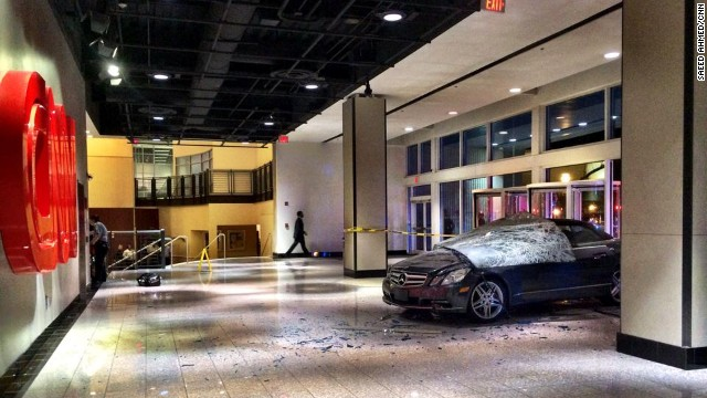 Car crashes into CNN Center lobby