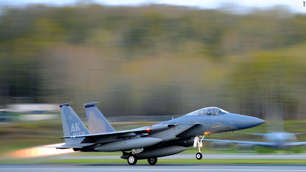An F-15 Eagle from the 19th Fighter Squadron takes off at Joint Base Elmendorf-Richardson in Alaska. F-15 fighters intercepted Russian bombers off California in June.