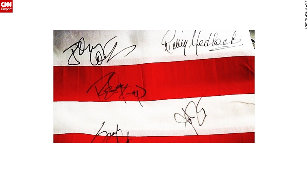 "Members of the rock band <a href=""http://ireport.cnn.com/docs/DOC-913772"">Lynyrd Skynyrd</a> signed memorabilia after their performance at the Heroes Red, White, and Blue Inaugural Ball in 2013. Johnny Colt, the band's bassist, shared this photo from the concert, which was a tribute to veterans of American armed forces."