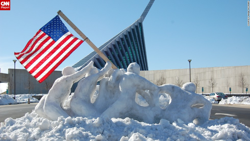 "<a href=""http://ireport.cnn.com/docs/DOC-1085440"">Angie McCrary </a>photographed this life-size snow sculpture of troops raising a flag at Iwo Jima in Triangle, Virginia, on February 14. The sculpture was created by two Marines, Tim Lewis and Derek Reynolds, for the National Museum of the Marine Corps."