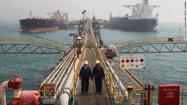 Oil tankers are anchored at Basra harbour, 550 kms (340 miles) south of Baghdad, on February 19, 2010. Iraqi Oil Minister Hussein al-Shahristani announced the construction of four new water platforms to ease the export of oil and increase its production. AFP PHOTO/ESSAM AL-SUDANI (Photo credit should read ESSAM AL-SUDANI/AFP/Getty Images)
