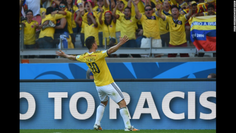 Colombia midfielder James Rodriguez celebrates after scoring his team's third and final goal during a match against Greece on June 14 in Belo Horizonte, Brazil. Colombia won 3-0.