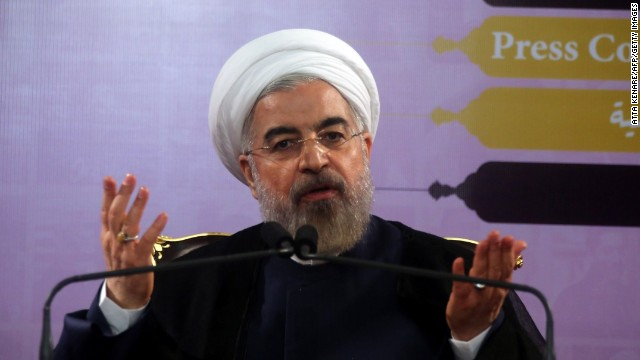 Iranian President Hassan Rouhani, shown in June, met with the UK Prime Minister at the United Nations.