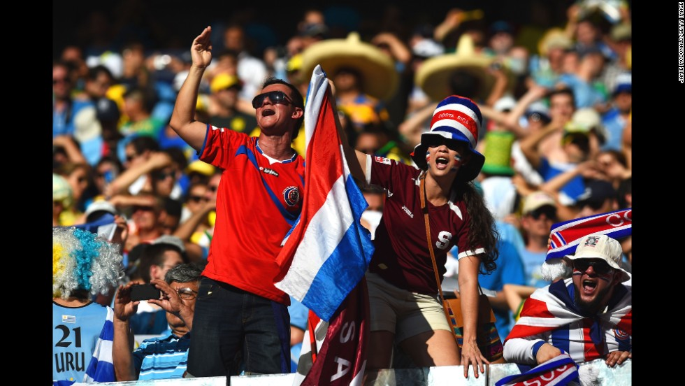 Costa Rica fans cheer ahead of the match.