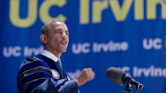 """The president of the United States delivered the commencement address at University of California-Irvine on June 14. During the speech, <a href=""""http://politicalticker.blogs.cnn.com/2014/06/14/climate-change-deniers-serious-threat-to-future-obama-says/"""">he called lawmakers and pundits who deny manmade climate</a> change a """"fairly serious threat to everybody's future."""""""