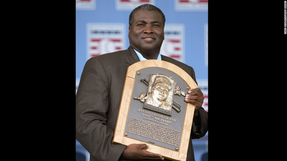 Gwynn poses with his Hall of Fame plaque during his induction in 2007.