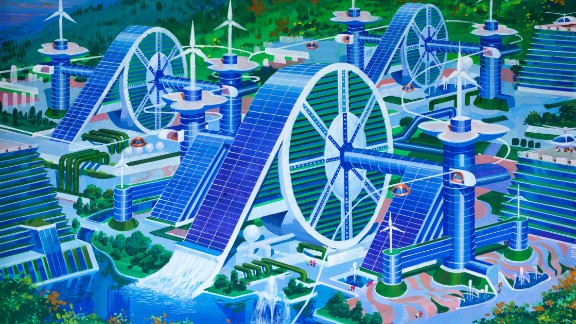 A futuristic silk cooperative that aims to bring together workers of the countryside  with plenty of space for wind turbines and helicopter landing pads. The style depicts a traditional Korean hand wheel which is used for weaving.