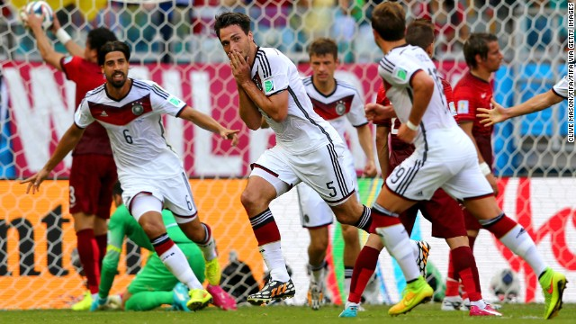 Mats Hummels of Germany, center, celebrates after scoring the team's second goal during the Group G game between Germany and Portugal on Monday, June 16, in Salvador, Brazil.