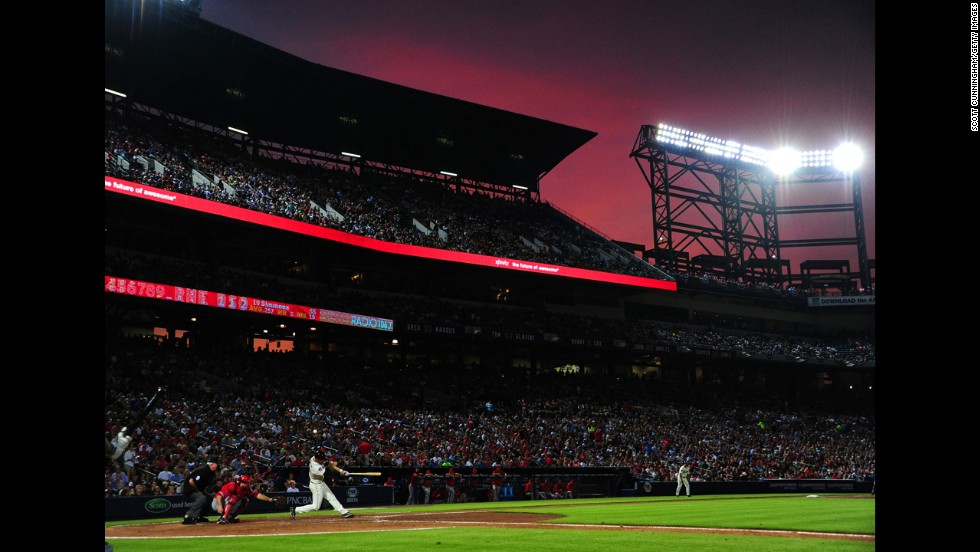 Atlanta Braves shortstop Andrelton Simmons hits the ball during a game against the Los Angeles Angels of Anaheim on Saturday, June 14, at Atlanta's Turner Field.