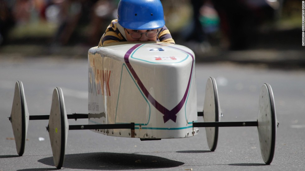 A young competitor races in the Berlin Soap Box Derby on Sunday, June 15.
