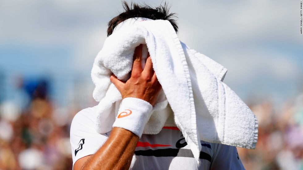 Marinko Matosevic reacts during his victory over Marin Cilic at the Aegon Championships in London on Tuesday, June 10.