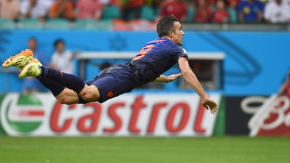 """Robin van Persie's acrobatic header against world champions Spain has sparked a new craze -- """"Persieing."""""""