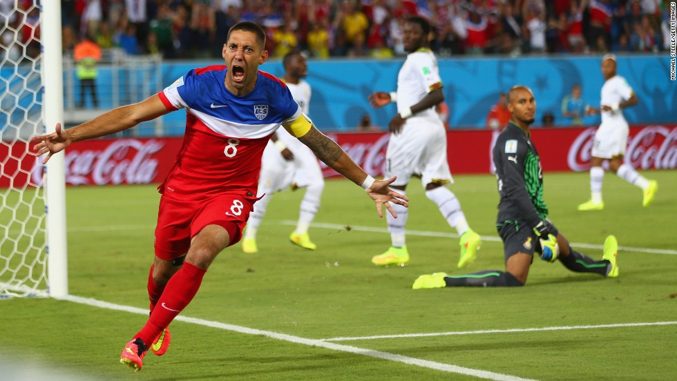 Dempsey runs away in celebration after slipping the ball past Ghana goalkeeper Adam Kwarasey.