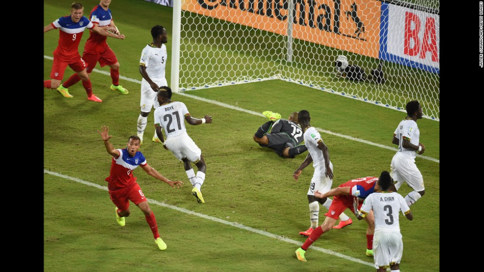 American defender John Brooks, bottom left, celebrates after scoring the winning goal against Ghana during a World Cup match Monday, June 16, in Natal, Brazil. The United States won 2-1 thanks to Brooks' header in the 86th minute.