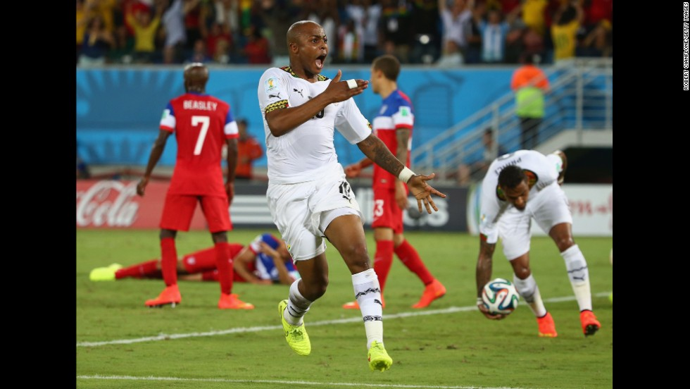 Andre Ayew of Ghana celebrates in the second half after tying the game at 1-1.