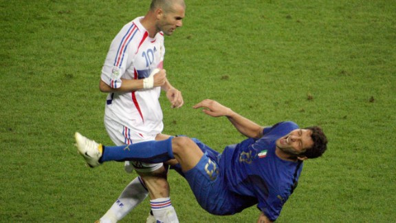 Zinedine Zidane lost his head and ended his international career after infamously headbutting Italy's Marco Materazzi in the 2006 World Cup final.